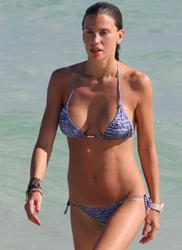 Claudia Galanti enjoys a sunny day at South Beach Miami Florida USA on December 23 2011